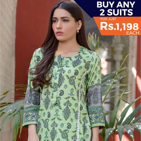 Three Star Printed Lawn 3 Piece Un-Stitched Suit Vol 2 - 10 A