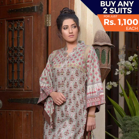 Libas Printed Lawn 3 Piece Un-Stitched Suit Vol 1 - 11 B