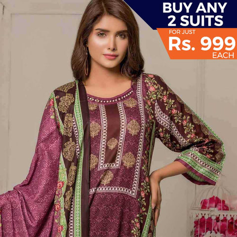 Rangreza Printed Lawn 3 Piece Un-Stitched Suit Vol-06 ZS - 07