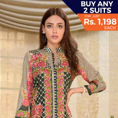 Three Star Printed Cotton 3 Piece Un-Stitched Suit - 14A