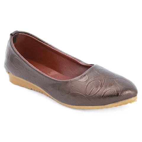 Girls Fancy Pumps  (315) - Brown