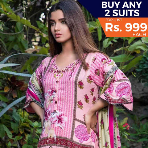 Rangreza Printed Lawn 3 Piece Un-Stitched Suit Vol 8 - 02