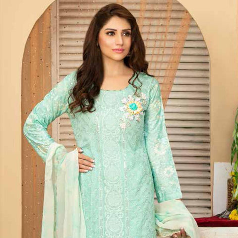 Poshak Embroidered Lawn 3 Piece Un-Stitched Suit - 32 A - test-store-for-chase-value