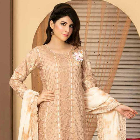 Poshak Embroidered Lawn 3 Piece Un-Stitched Suit - 32 B - test-store-for-chase-value