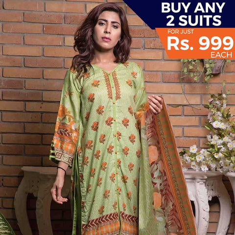 Rangreza Printed Lawn 3 Piece Un-Stitched Suit Vol-09 - ZS 09