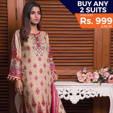 Rangreza Printed Lawn 3 Piece Un-Stitched Suit Vol-09 - ZS 06