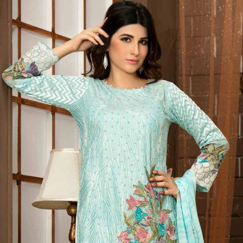Poshak Embroidered Lawn 3 Piece Un-Stitched Suit - 34 B - test-store-for-chase-value
