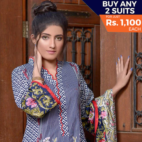 Libas Printed Lawn 3 Piece Un-Stitched Suit Vol 1 - 12 B