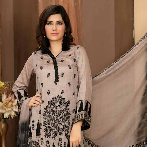 Poshak Embroidered Lawn 3 Piece Un-Stitched Suit - 35 A - test-store-for-chase-value