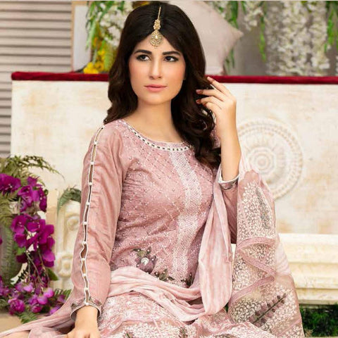 Poshak Embroidered Lawn 3 Piece Un-Stitched Suit - 36 B - test-store-for-chase-value