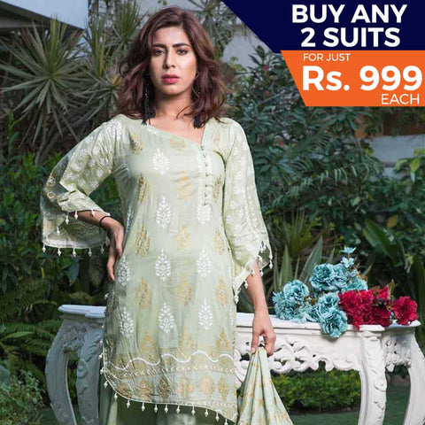 Rangreza Printed Lawn 3 Piece Un-Stitched Suit Vol-09 - ZS 03