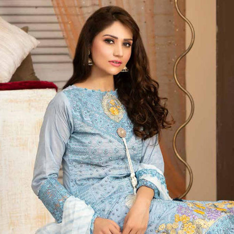Poshak Embroidered Lawn 3 Piece Un-Stitched Suit - 37 A - test-store-for-chase-value