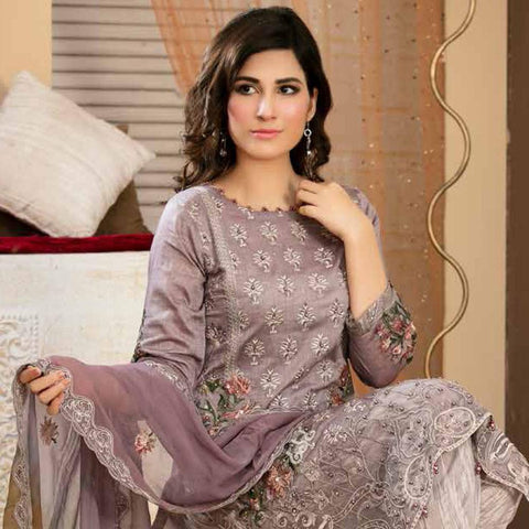 Poshak Embroidered Lawn 3 Piece Un-Stitched Suit - 38 A - test-store-for-chase-value