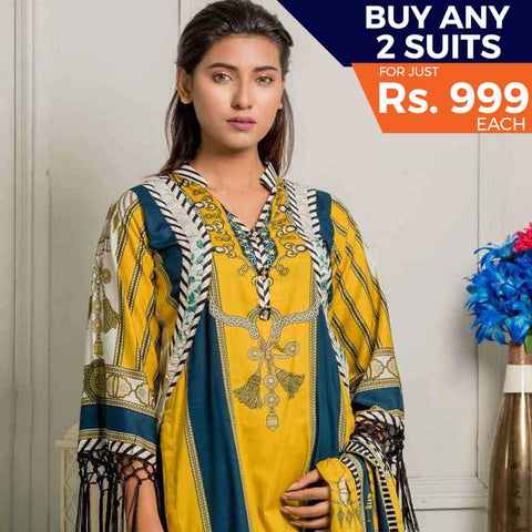 Rangreza Printed Lawn 3 Piece Un-Stitched Suit Vol-07 ZS - 05
