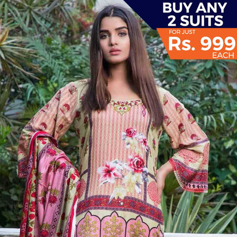 Rangreza Printed Lawn 3 Piece Un-Stitched Suit Vol 8 - 09