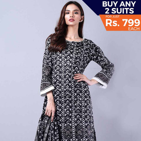 Sahil Black & White Printed Lawn Un-Stitched Suit 8