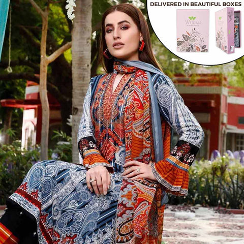 Zobia Noor Embroidered Lawn 3 Piece Un-Stitched Suit - ZN-04B