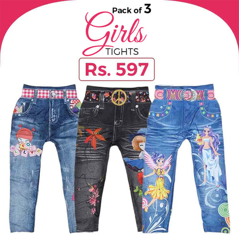 Girls Digital Printed Tights Pack Of 3