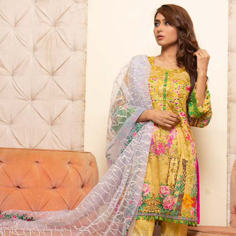 Veena Durrani Embroidered Lawn Suit - 03 - test-store-for-chase-value