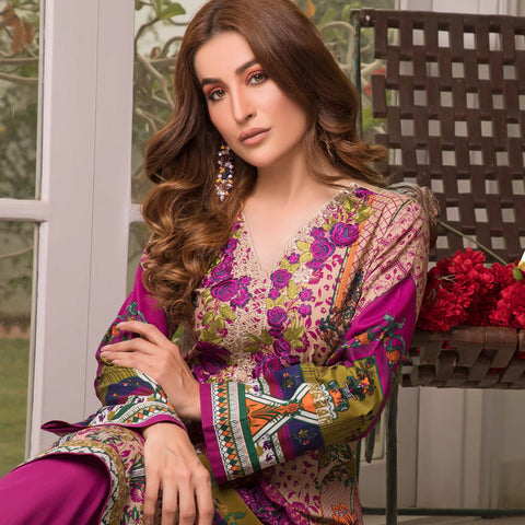Zobia Noor Embroidered Lawn 3 Piece Un-Stitched Suit - A6