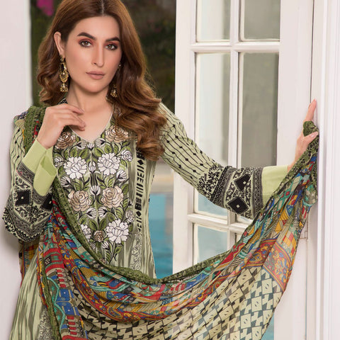 Zobia Noor Embroidered Lawn 3 Piece Un-Stitched Suit - B3