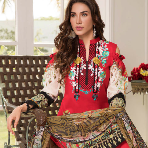 Zobia Noor Embroidered Lawn 3 Piece Un-Stitched Suit - B4