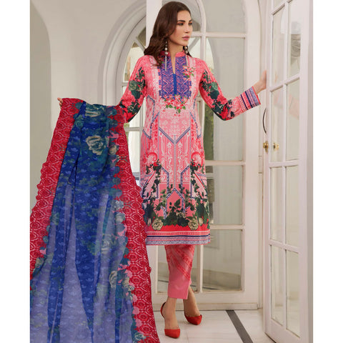 Zobia Noor Embroidered Lawn 3 Piece Un-Stitched Suit - B2