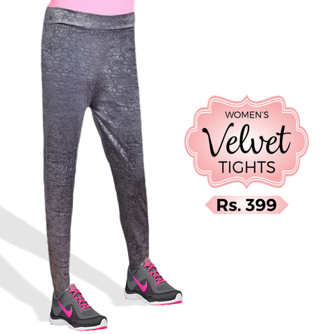 Women's Velvet Tights - Grey