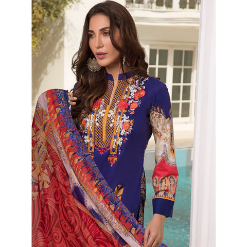 Zobia Noor Embroidered Lawn 3 Piece Un-Stitched Suit - A4
