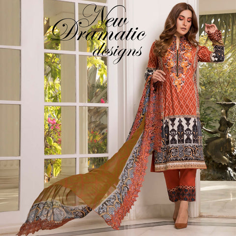 Zobia Noor Embroidered Lawn 3 Piece Un-Stitched Suit - B5