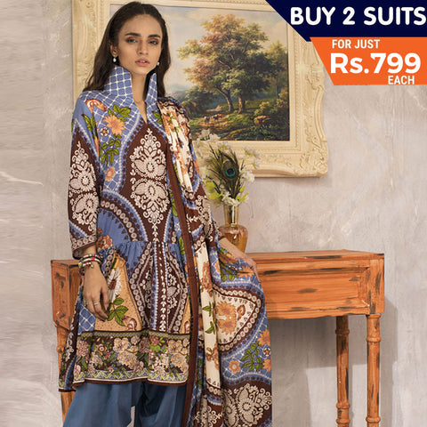 Three Star Printed Lawn Suit Vol 4- 8B