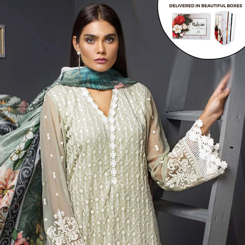 Kalyan Chiffon Embroidered 3 Piece Un-Stitched Suit - 04