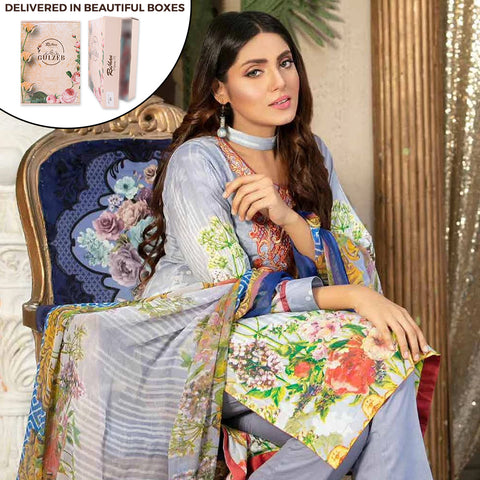 Gulzeb Embroidered Lawn Un-Stitched Suit - 3