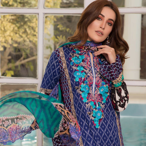 Zobia Noor Embroidered Lawn 3 Piece Un-Stitched Suit - A5