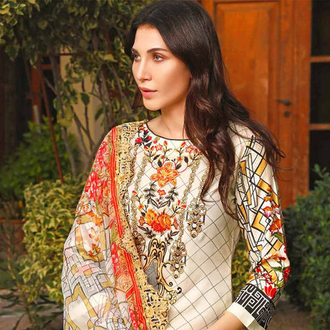 Haya Emaan Embroidered Viscose 3 Piece Un-Stitched Suit - 3A