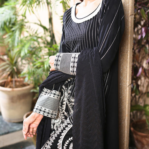 Kalyan Black & White Embroidered Shifli 3 Piece Un-Stitched Suit - 03