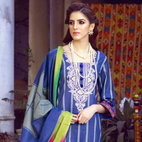 Monsoon Printed Lawn 3 Piece Un-Stitched Suit Vol 1 - 3 B