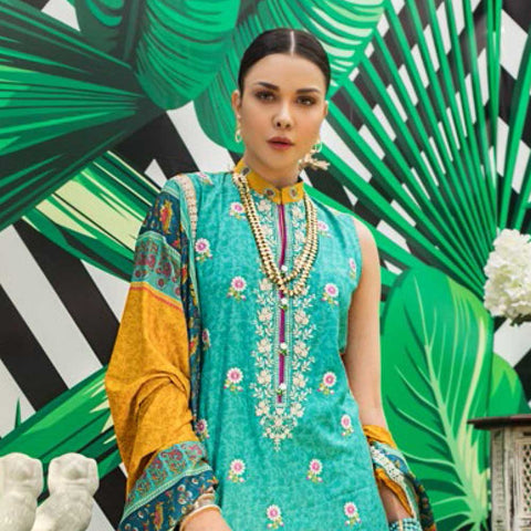 Signature Icon Printed Embroidered Lawn 3 Piece Un-Stitched Suit - 3 B