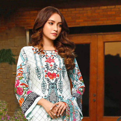 Haya Emaan Embroidered Viscose 3 Piece Un-Stitched Suit - 3B