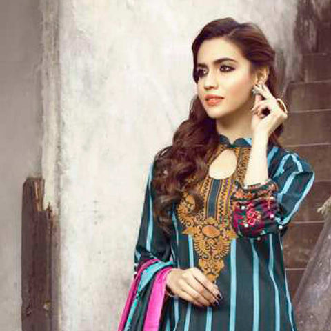Monsoon Printed Lawn 3 Piece Un-Stitched Suit Vol 1 - 3 C