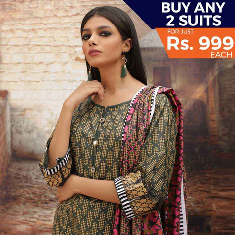 Rangreza Printed Cotton 3 Piece Un-Stitched Suit - 04