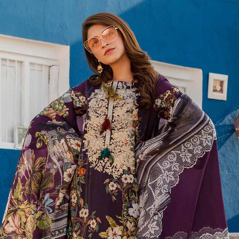 Regalia Digital Printed Embroidered Lawn 3 Piece Un-Stitched Suit Vol 2 - 4