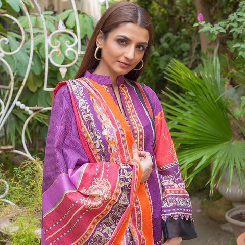 Digital Printed Karandi 3 Piece Un-Stitched Suit - 04