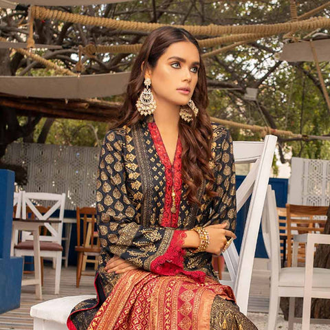 Banarsi Gold Printed Cotton 3 Piece Un-Stitched Suit Vol 2 - 04