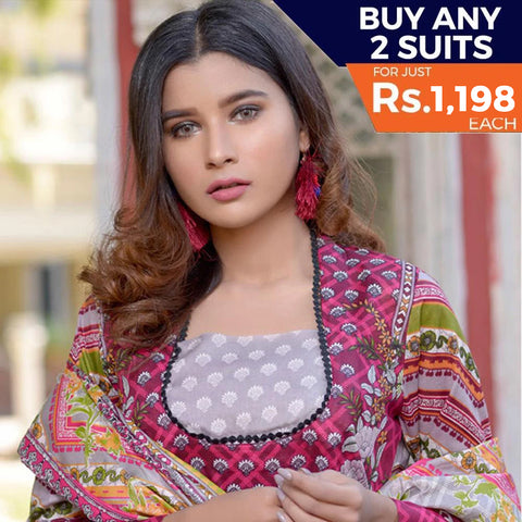 Three Star Printed Lawn 3 Piece Un-Stitched Suit Vol 2 - 4 A
