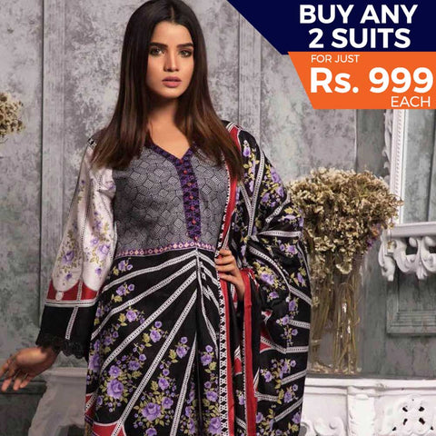 Rangreza Printed Lawn 3 Piece Un-Stitched Suit Vol-04 ZS - 04