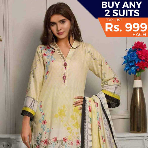 Rangreza Printed Lawn 3 Piece Un-Stitched Suit Vol-07 ZS - 02