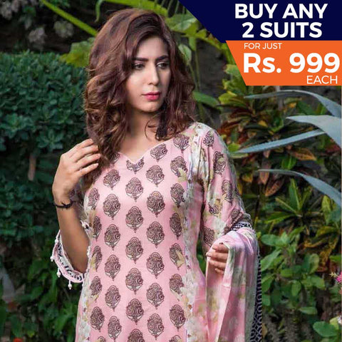 Rangreza Printed Lawn 3 Piece Un-Stitched Suit Vol 8 - 03