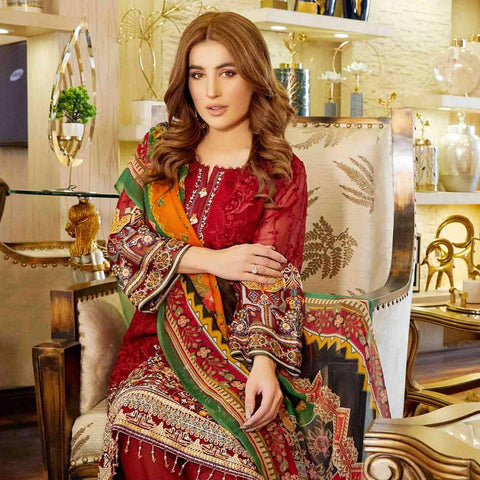 Luxury Pearl Embroidered Chiffon 3 Piece Semi-Stitched Suit - 4693