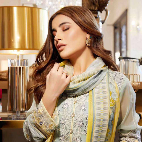 Luxury Pearl Embroidered Chiffon 3 Piece Semi-Stitched Suit - 4695